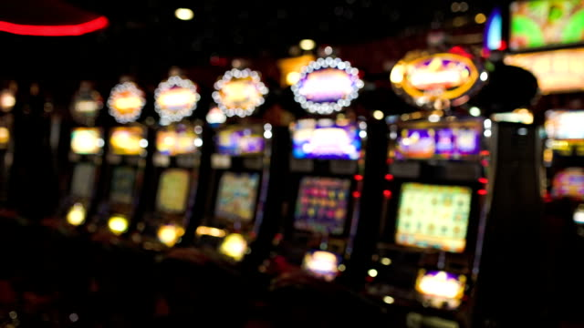 HD: Slot machines in Casino, defocused video