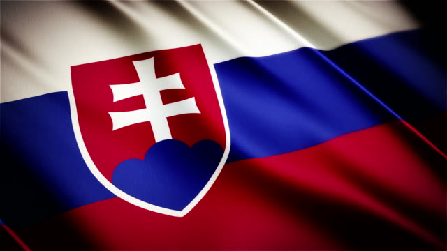 Slovakia realistic national flag seamless looped waving animation video