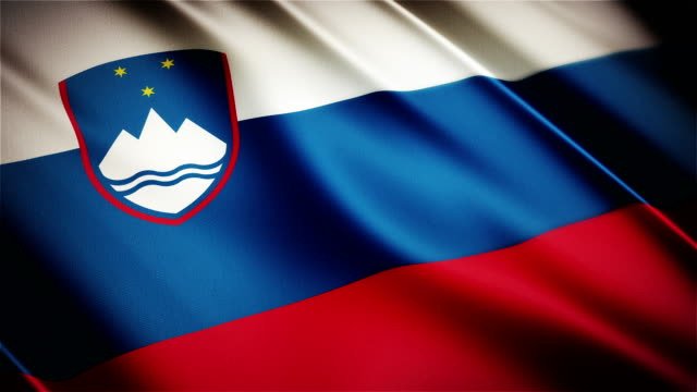 Slovenia realistic national flag seamless looped waving animation video