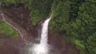 Slow Aerial Flyback of Big Waterfall Flowing in Forest Canyon video