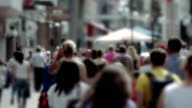 Slow Motion, anonymous city shoppers, summer 30 fps video