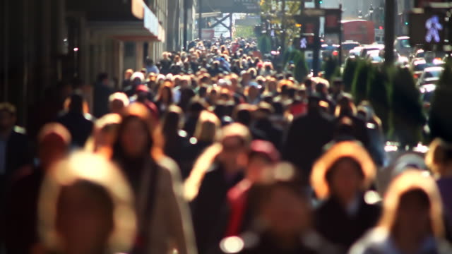 Slow motion anonymous crowd video