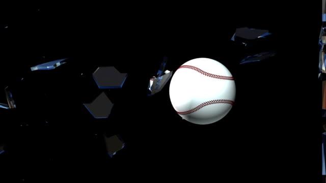 Slow motion baseball glass break 3d animation (HD) video