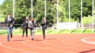 slow motion business relay race video