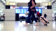 Slow motion : Crowd passenger walking in terminal video