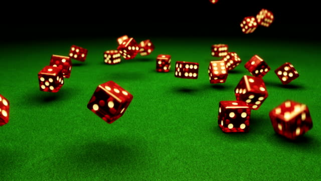 Slow motion dice falling video