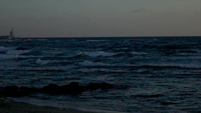 Slow Motion Dusk Over Ocean video