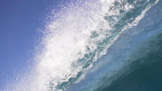 Slow Motion Empty Blue Ocean Wave Breaking video