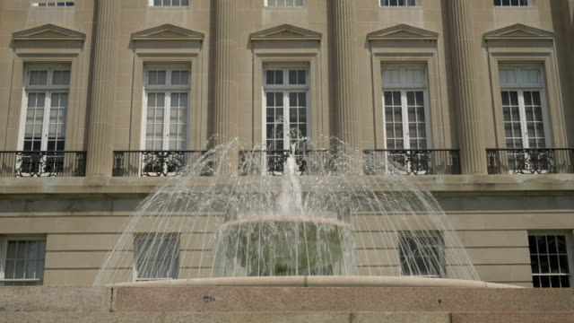 Slow Motion Establishing Shot of Fountain at Wilmington Courthouse video