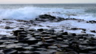 Slow motion Giant's causeway in Northern Ireland video