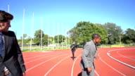 slow motion handover business men video