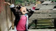 Slow motion happy village boy cheering up video