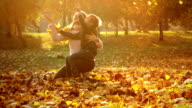 Slow motion: Mother and child in the park video