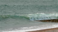 Slow motion movement of the waves on the sea shore video