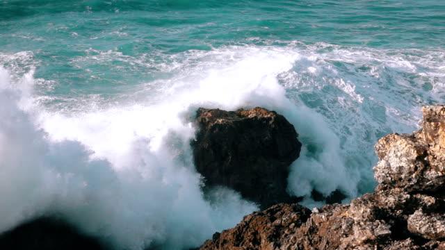 Slow Motion Ocean Waves Breaking on Rocks video