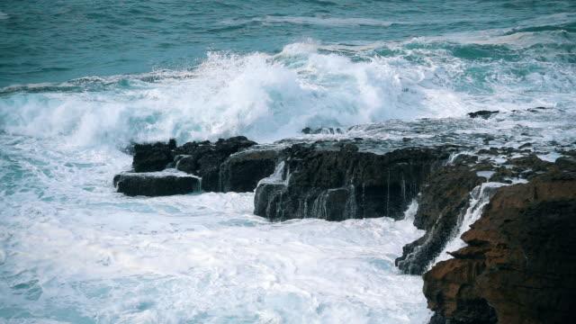 Slow Motion Ocean Waves Breaking on Shore video