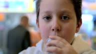 slow motion of a child at the fast food restourant video