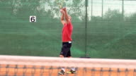 Slow Motion Of Athletic Tennis Player Serving The Ball video