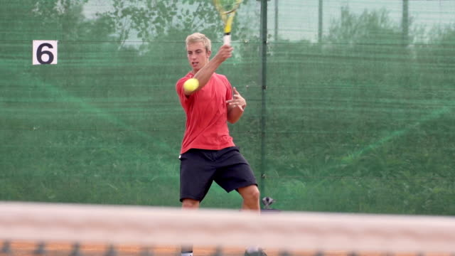 Slow Motion Of Athletic Tennis Player Striking Forehand And Backhand video