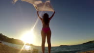 slow motion of Beautiful young woman on the beach at sunset with a colored tissue scarf waving on the wind, FREEDOM CONCEPT video