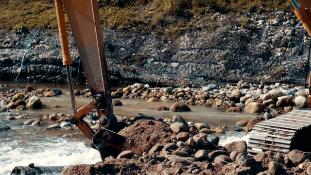 Slow Motion Of Excavator Working In A River video