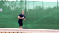 Slow Motion Of Playing Tennis With Focus On The Net video