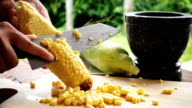 Slow motion of preparing corn for cooking video