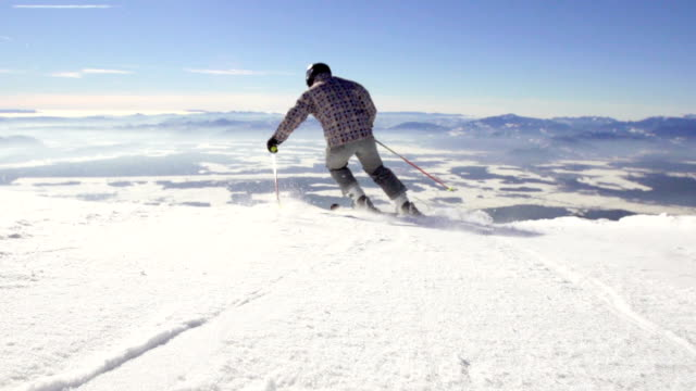 Slow Motion Of Professional Skier Skiing Down The Slope video