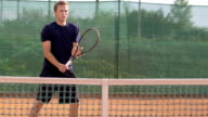 Slow Motion Of Professional Tennis Player Hitting The Ball video