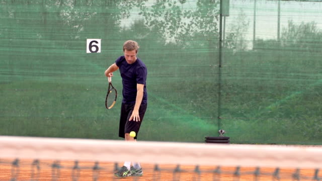Slow Motion Of Professional Tennis Player Serving video