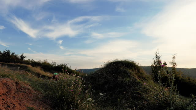 Slow motion of skillful man on mountain bicycle doing backflip against the sky at sunset. video