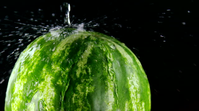 Slow motion of striped green watermelon with water spray on black background video