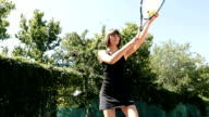 Slow Motion Of Woman Playing Tennis video