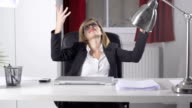 Slow Motion Of Young Businesswoman Throwing Documents In The Air video