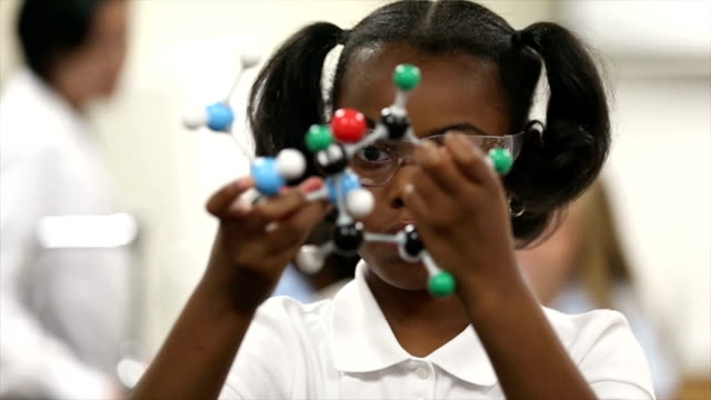 Slow motion of young girl studying model in science class video