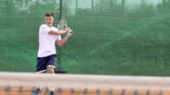 Slow Motion Of Young Tennis Player Scoring And Expressing Achievement video