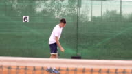 Slow Motion Of Young Tennis Player Serving video