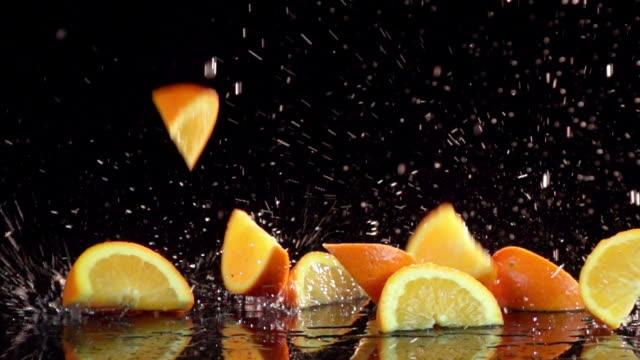 Slow Motion Orange Slices video