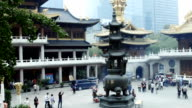 slow motion panning of a temple in Shanghai... video