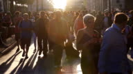 HD slow motion: Pedestrian Commuter Crowd Walking at champs elysee Paris, France video