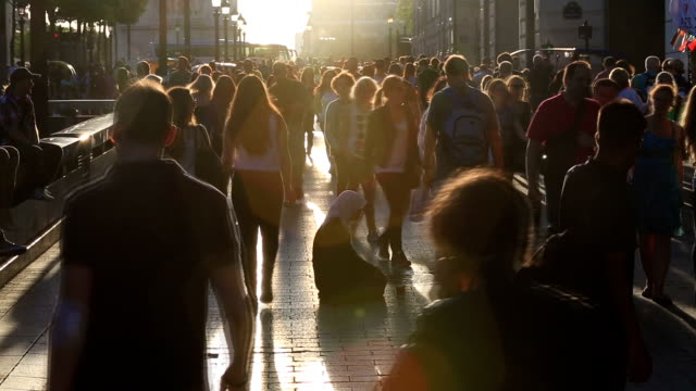 HD slow motion: Pedestrian Commuter Crowd Walking champs elysee Paris video