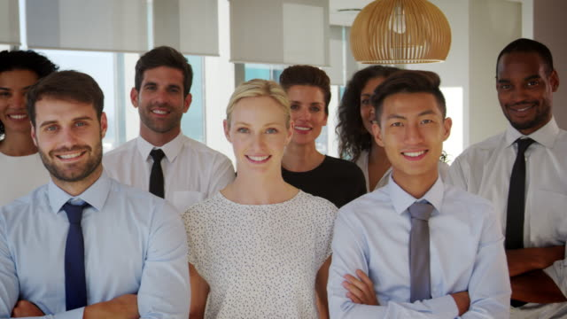 Slow Motion Portrait Of Business Team In Office video