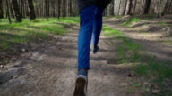 Slow motion: Running in the forest video