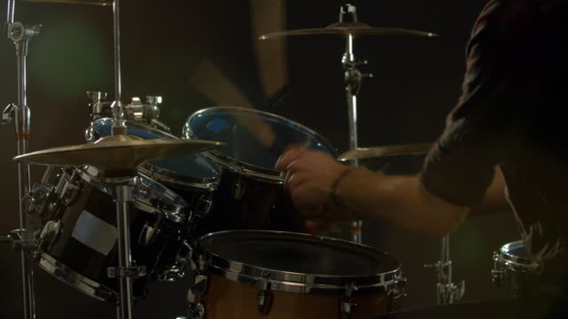 Slow Motion Sequence Of Drummer Playing Drum Kit video
