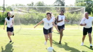 Slow Motion Sequence Of Female School Soccer Team Training video