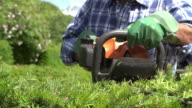 Slow Motion Sequence Of Man Cutting Hedge With Trimmer video
