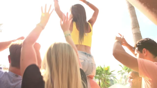 Slow Motion Sequence Of People Dancing At Outdoor Party video