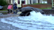 Slow Motion Sequence Of Pumping Water From Flooded Road video