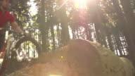 Slow Motion Shot Mountain Biker Making Dramatic Jump video