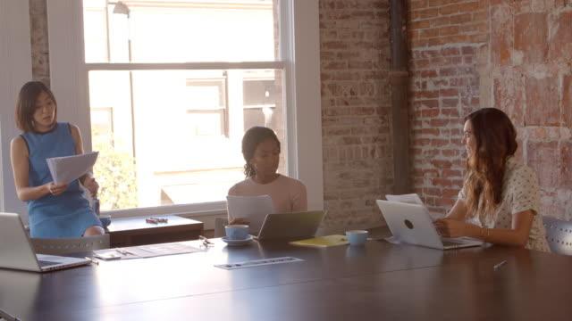 Slow Motion Shot Of Creative Brainstorming Meeting In Office video